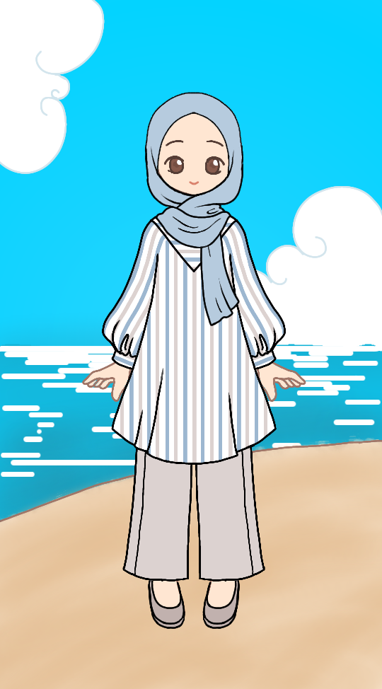 Early Autumn Beach Stroll made with Hijabi Dress-Up - Sea Breeze