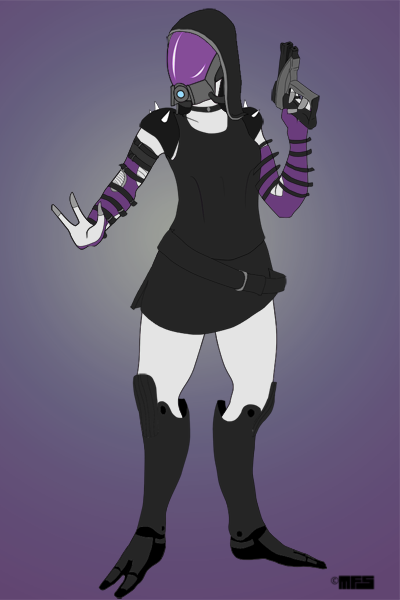 Space Girl made with Mass Effect Quarian Maker