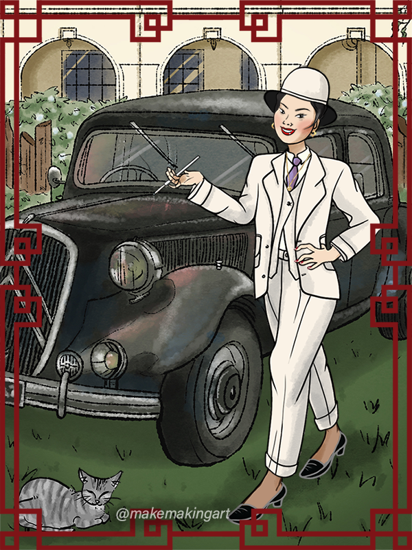 Madame Fu takes care of business made with 1930s Vintage Chinese Dress Up Game