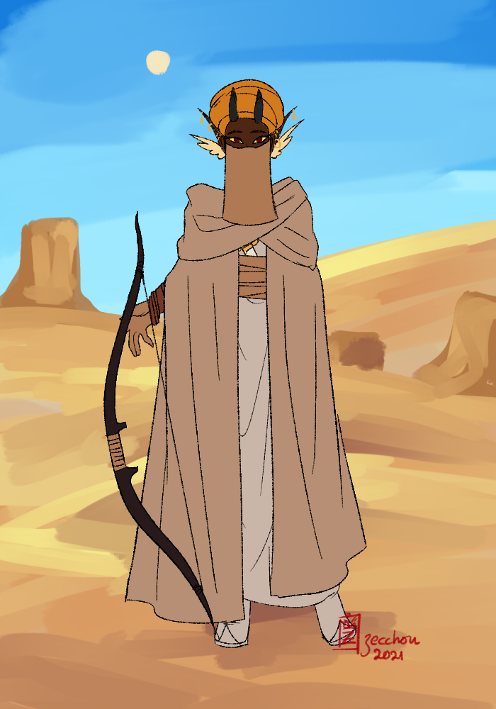 Akifa: Casual desert outfit made with Painting of an Asadin